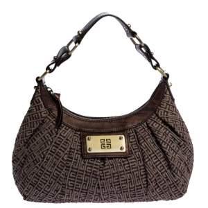 Givenchy Brown Monogram Shimmering Canvas and Leather Hobo