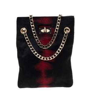 Givenchy Black/Red Calfhair Shark Tooth Mini Chain Shoulder Bag