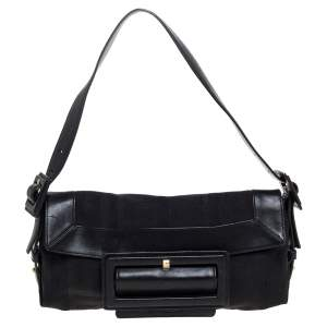 Givenchy Black Signature Canvas and Leather Buckle Flap Shoulder Bag