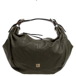 Givenchy Olive Green/Brown Leather Logo Hobo