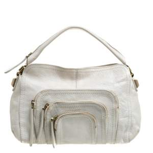 Givenchy Off White Leather Multiple Zip Pocket Hobo