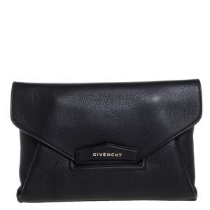 Givenchy Nero Leather Antigona Envelope Clutch