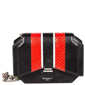 Givenchy Black Bow Cut Mini Python Leather Cross Body Bag
