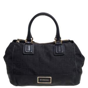 Givenchy Black Signature Canvas and Leather Double Zip Tote