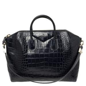 Givenchy Navy Blue Croc Embossed Leather Antigona Satchel