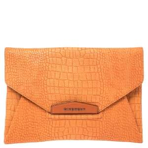 Givenchy Orange Croc Embossed Leather Antigona Envelope Clutch