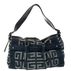 Givenchy Blue Monogram Denim Pleated Zip Shoulder Bag