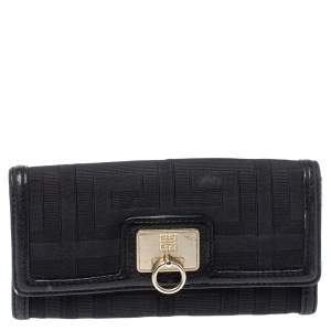Givenchy Black Canvas and Leather Continental Wallet