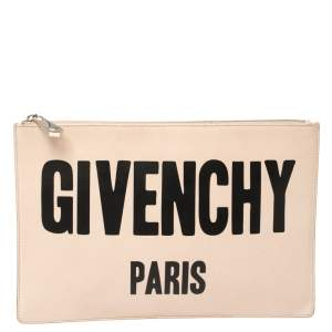 Givenchy Nude Beige Leather Logo Zip Clutch