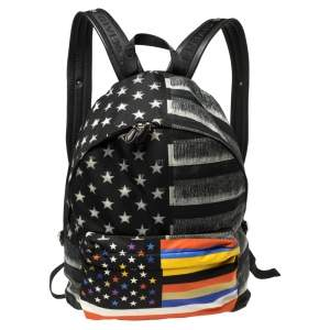 Givenchy Black American Flag Print Nylon Backpack