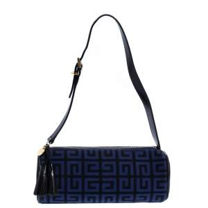 Givenchy Blue/Black Monogram  Canvas and Leather Zip Wristlet Clutch