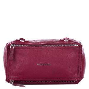 Givenchy Red Grained Leather Pandora Mini Crossbody Bag