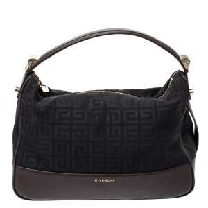 Givenchy Black/Cacao Monogram Canvas and Leather Zip Hobo