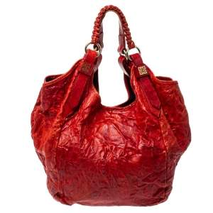Givenchy Red Distressed Leather Sacca Hobo