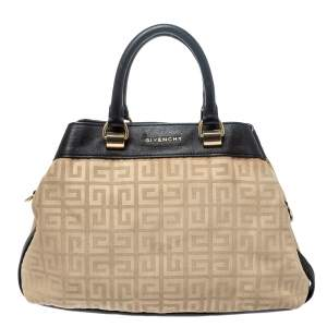 Givenchy Cream/Black Monogram Canvas and Leather Tote