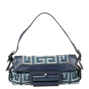 Givenchy Blue Monogram Denim and Leather Buckle Flap Hobo