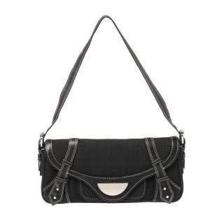 Givenchy Black Denim and Leather Small Shoulder Bag