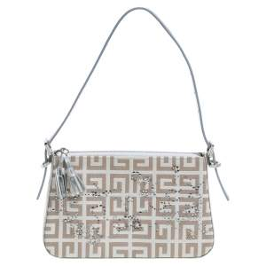 Givenchy Silver/Beige Signature Canvas and Leather Small Baguette Bag