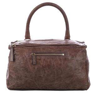 Givenchy Brown Leather Pepe Pandora Leather Satchel Bag