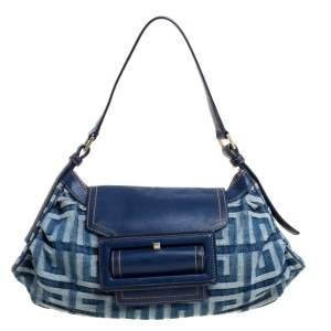 Givenchy Blue Monogram Denim and Leather Shoulder Bag
