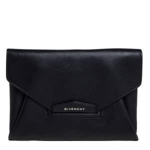 Givenchy Black Leather Antigona Envelope Clutch