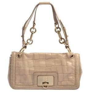 Givenchy Beige Croc Embossed Leather Flap Shoulder Bag