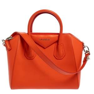 Givenchy Orange Leather Small Antigona Satchel
