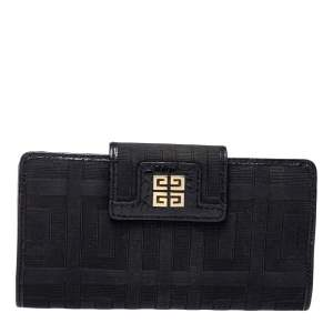 Givenchy Black Canvas and Leather Wallet