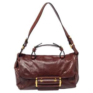 Givenchy Brown Leather East West Buckle Top Handle Bag