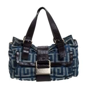 Givenchy Blue/Brown Monogram Denim and Glazed Leather Buckle Flap Shoulder Bag