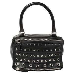 Givenchy Black Leather Pandora Grommet Shoulder Bag