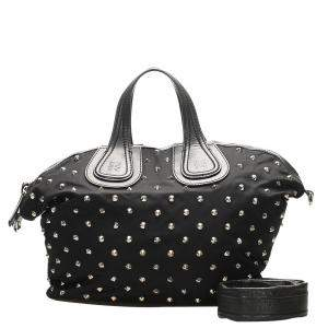 Givenchy Black Studded Nylon Nightingale bag