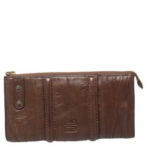 Givenchy Brown Crinkled Leather Top Zip Wallet