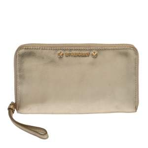 Givenchy Metallic Gold Leather Wristlet Pouch