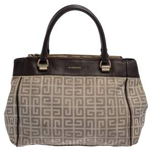 Givenchy Dark Brown/White Monogram Canvas and Leather Double Zip Tote