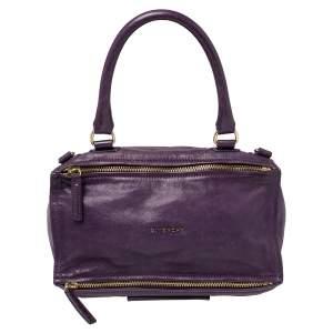 Givenchy Purple Leather Large Pandora Shoulder Bag