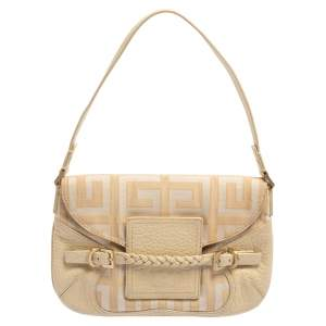 Givenchy Cream/Beige Monogram Canvas and Leather Flap Baguette Bag