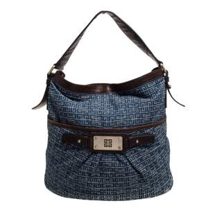 Givenchy Blue/Brown Monogram Denim and Leather Logo Plaque Hobo