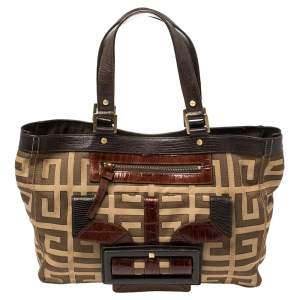 Givenchy Brown Monogram Canvas And Croc Embossed Leather Tote