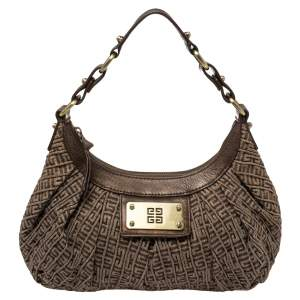 Givenchy Brown Monogram Canvas and Leather Logo Plaque Hobo