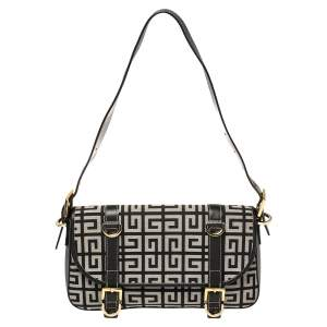 Givenchy Black Monogram Canvas and Leather Double Buckle Flap Shoulder Bag