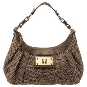 Givenchy Brown Logo Print Canvas And Leather Hobo