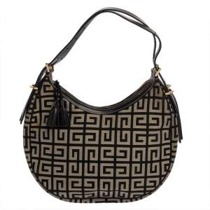 Givenchy Grey/Black Monogram Canvas and Leather Hobo