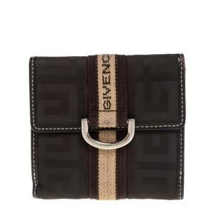 Givenchy Green/Brown Monogram Fabric and Leather French Wallet