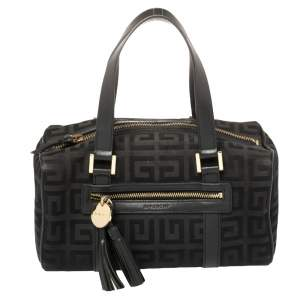 Givenchy Black Monogram Canvas and Leather Boston Satchel