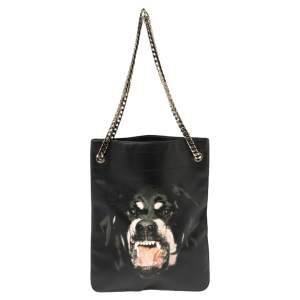 Givenchy Black Leather Rottweiler Chain Tote