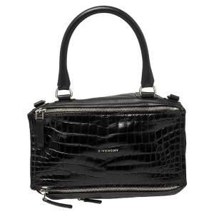 Givenchy Black Croc Embossed ,Suede and Leather Large Pandora Shoulder Bag
