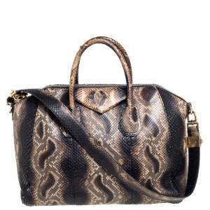 Givenchy Black/Brown Python Medium Antigona Satchel