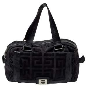 Givenchy Black Leather And Signature Canvas Duffel Bag