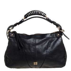 Givenchy Black Leather Ruched Hobo